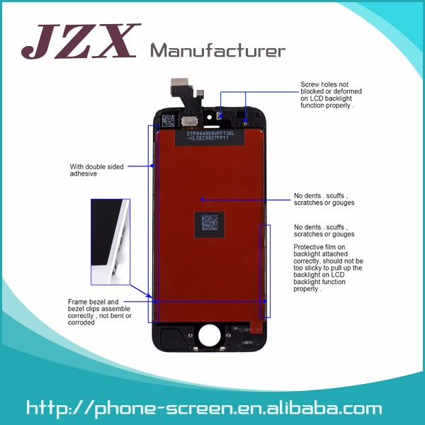 JZX black & white mobile phone screen lcd for iphone 5s original,for iphone 5s lcd digitizer