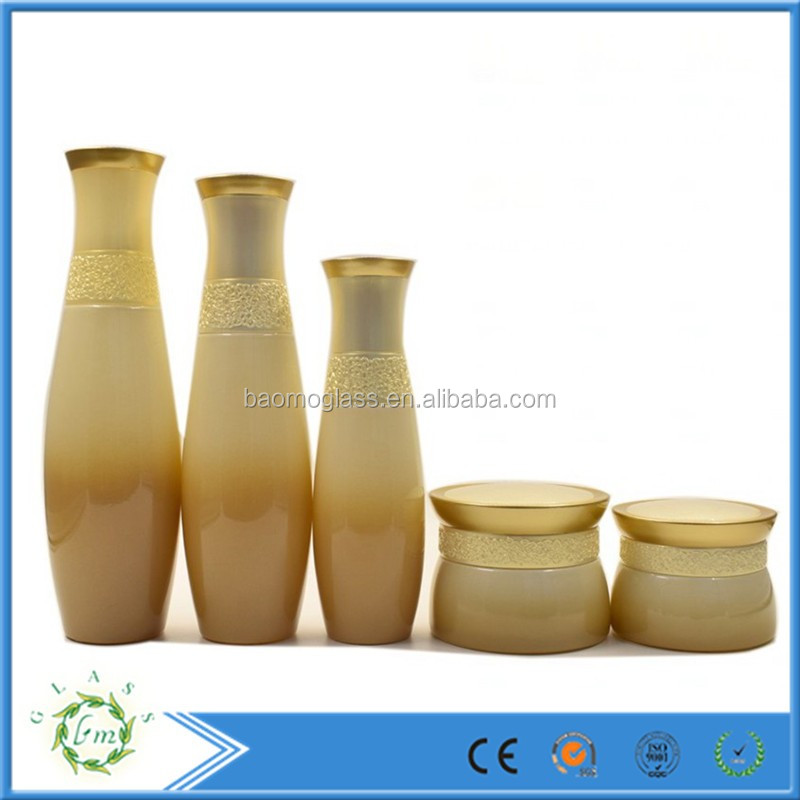 Luxury Graident Gold Cosmetic Glass Bottle Jar packaging