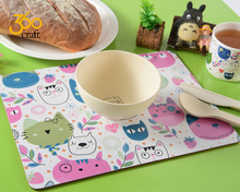 New products laminated custom personalized baby cork table placemats and plate for kids