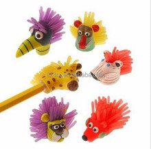 custom 3d plastic animal head pencil topper, mini plastic cartoon character pencil topper, custom mini animal head pencil topper