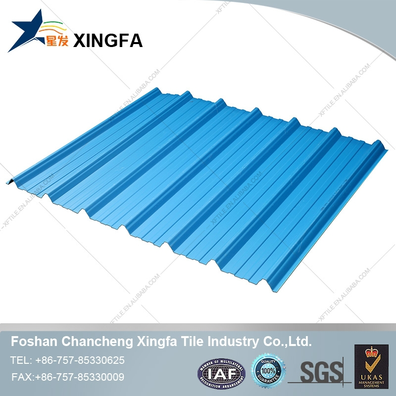 blue color coated pvc roofing shingle