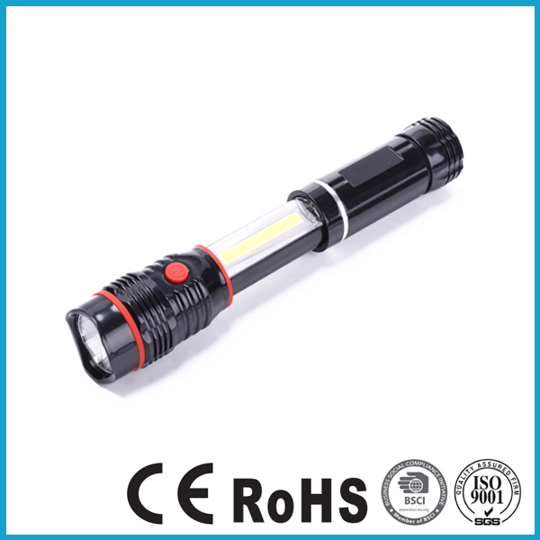 PORTABLE MULTIFUNTION PLASTIC CHEAP ADVANCED QC EQUIPMENT LED COB POP UP 2 IN 1 TORCH FLASHLIGHT WORK LIGHT AAA BATTERY OPERATED