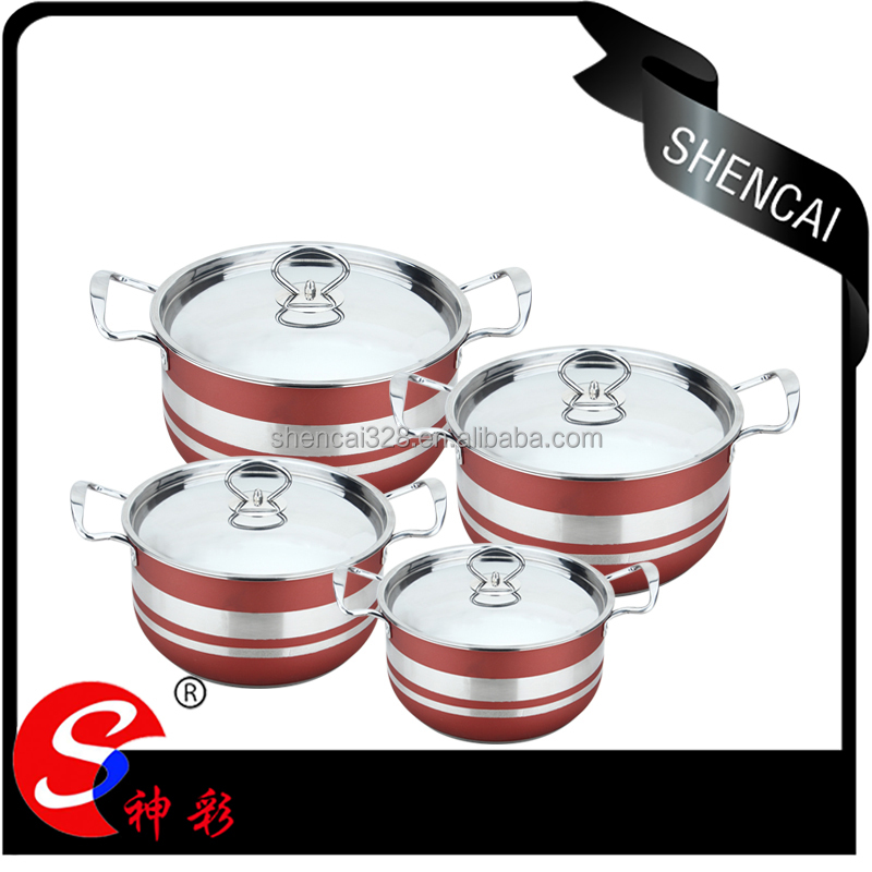 Kitchen Accessories Stainless Steel capsule bottom Cookware Set / colored Cooking Pot / Stock Pot Set