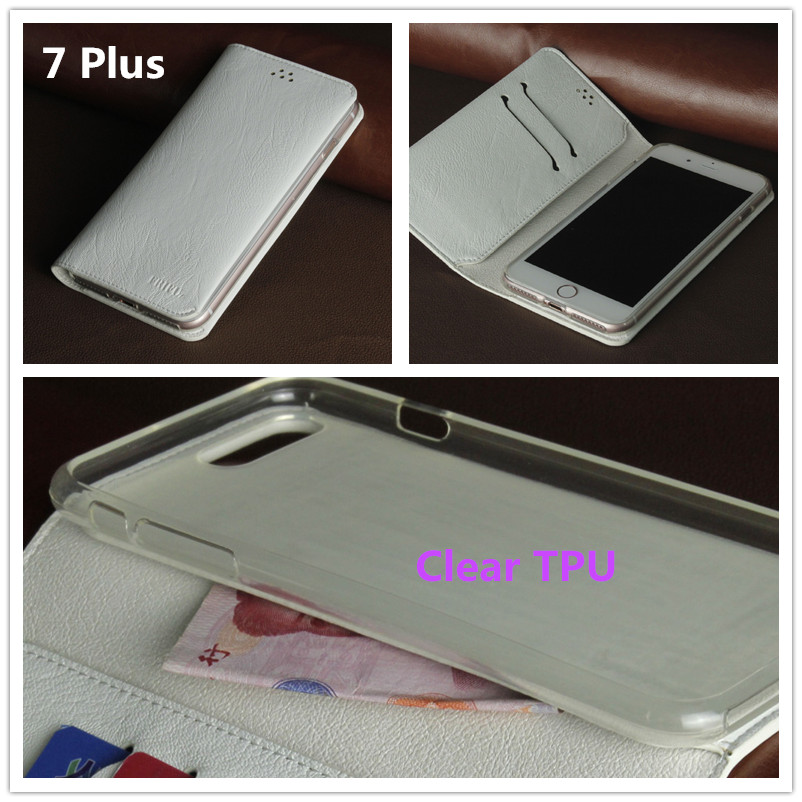 Transparent TPU Shell Soft PU Leather Mobile Phone Cases for Iphone 7 Plus