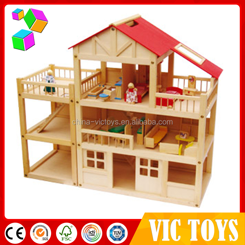 Specializing in the production of wooden toy doll house with low price