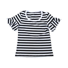 Summer cute design baby girl boutique clothing high quality kids black stripe tops children t shirt