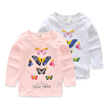 New Fashion Girl's Long Sleeve Butterfly Printed Short Tops From Alibaba Online Shopping