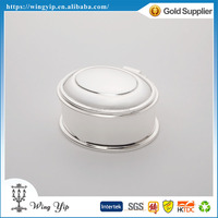Manufacturer fancy Oval Shape Blank Silver Plated Metal Trinket box for gift