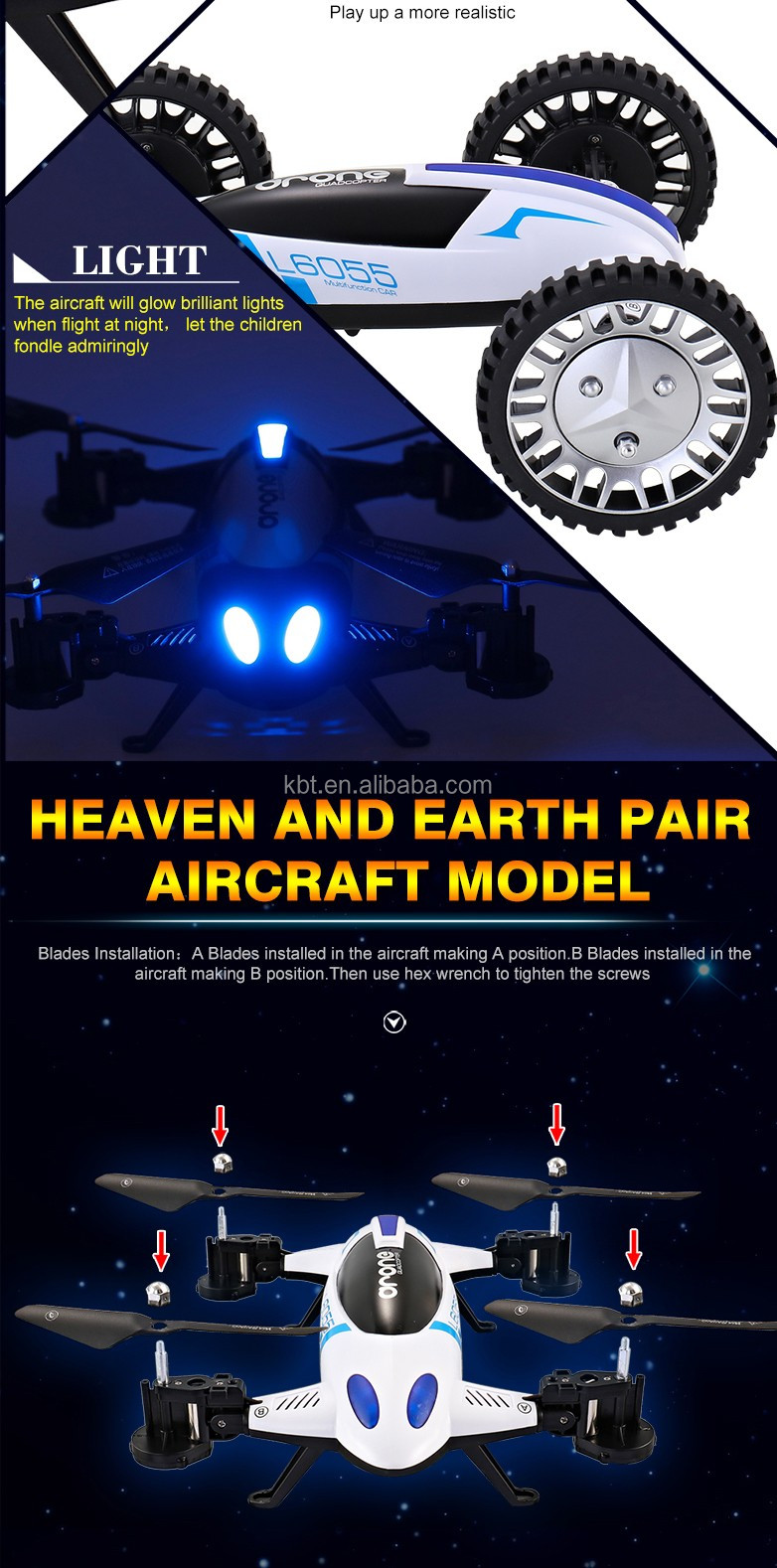 CAR styple aircraft 4 axis gyroscope heaven and earth planes 2.4GHZ RC drone