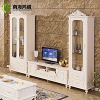 White Hand Carve European Baroque Classical Style Living Room Furniture Decorate Solid Wood Glass Tall Wall French Curio Cabinet