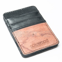 Slim two tone leather card holder magic wallet