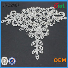 Hot Sale Silver Rhinestone Beaded Bridal Lace trim for Dresses