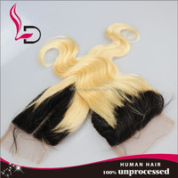 high quality tangle free virgin brazilian hair body wave ombre black root blonde burgundy lace closure