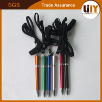 Cheap colorful mini metal ball pen with sling for promotion