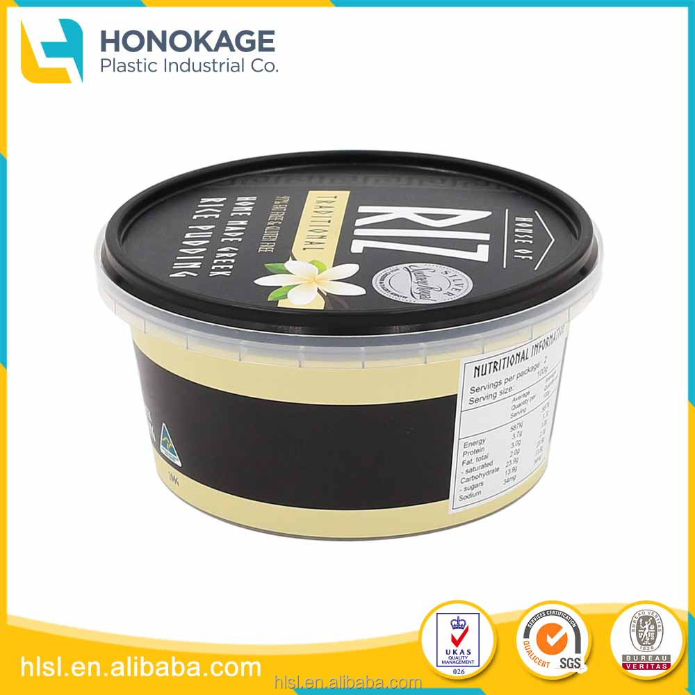 200g IML Food Grade Plastic Ice Cream Tub with Lid, Round Custom Logo Printed Ice Cream Container Have Cover