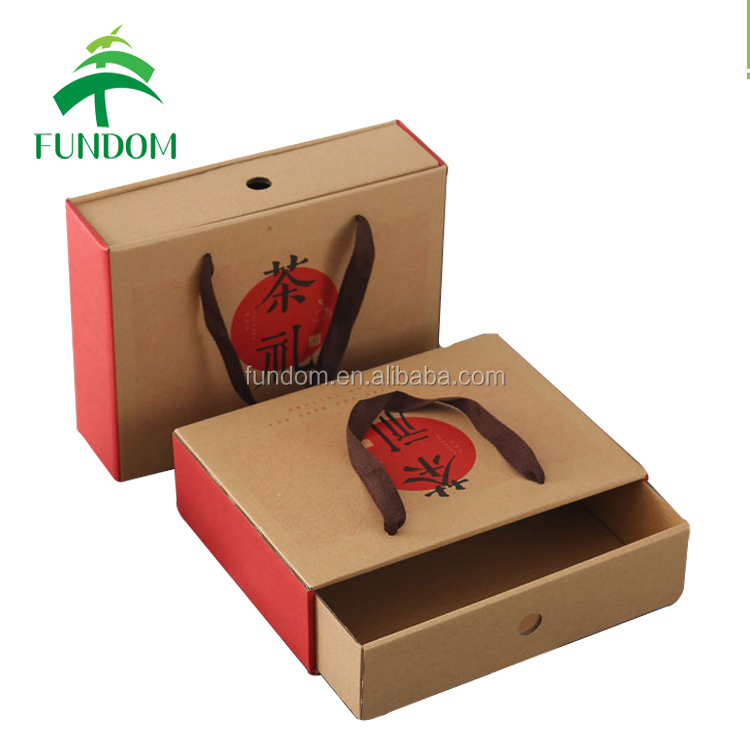 yiwu fundom high quality gift packing brown kraft paper foldable slide in drawer boxes for tea packing