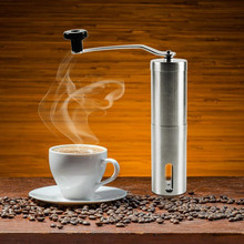 Ceramic Burr Manual Coffee Grinder, Portable Coffee Mill, Stainless Steel - Aeropress Compatible