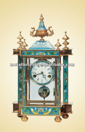Cloisonn Imitation Antique Cast Copper Art Clock JG004