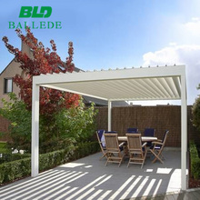 Motorized metal roof awning pergola for house