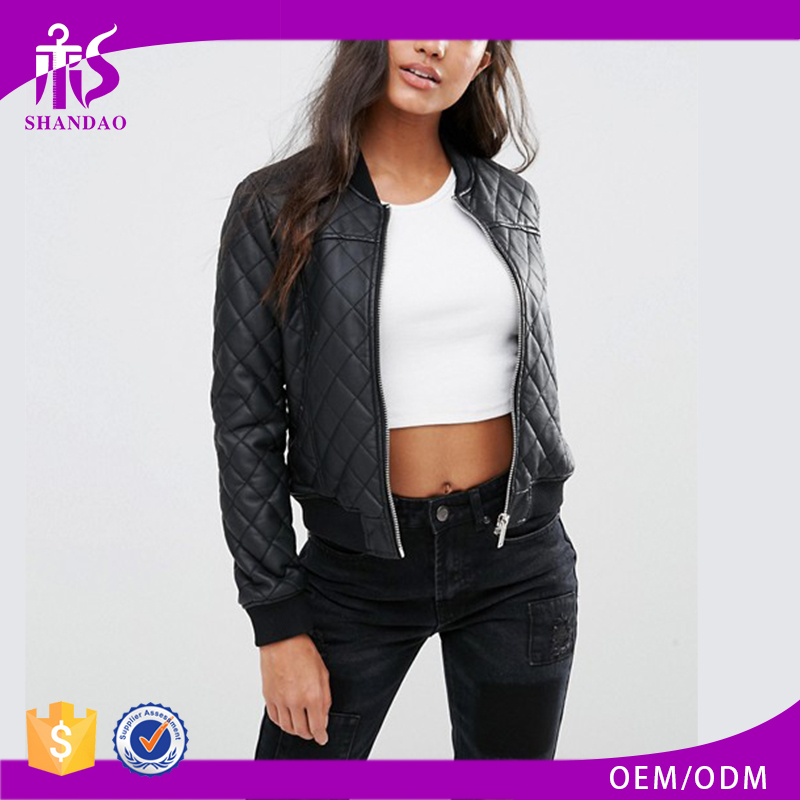Shandao High Quality Latest Design Custom Design Long Sleeve Zipper Bomber Black Plaid Leather Jacket Women