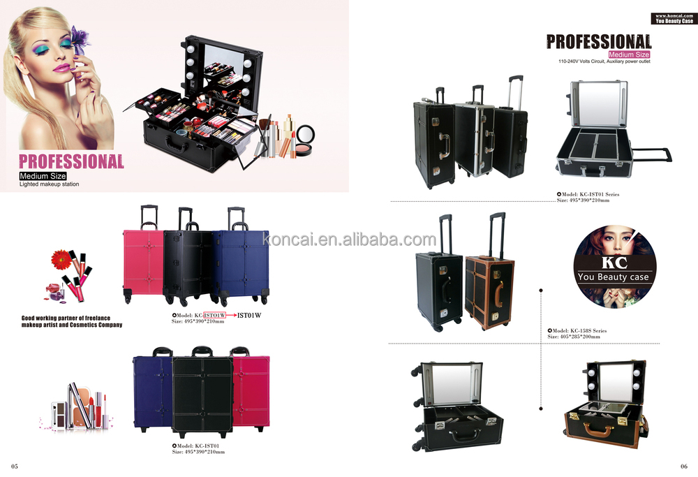 Beautiful design International traveller makeup station for sales, your trolley makeup tools beauty case