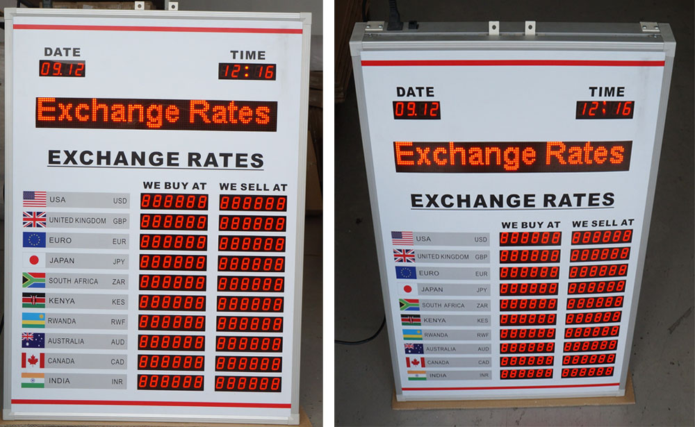 BTR-90H65L BABBITT 10 Rows and 2 Columns Exchange rate display board Currency exchange rate Currency exchange rate board display