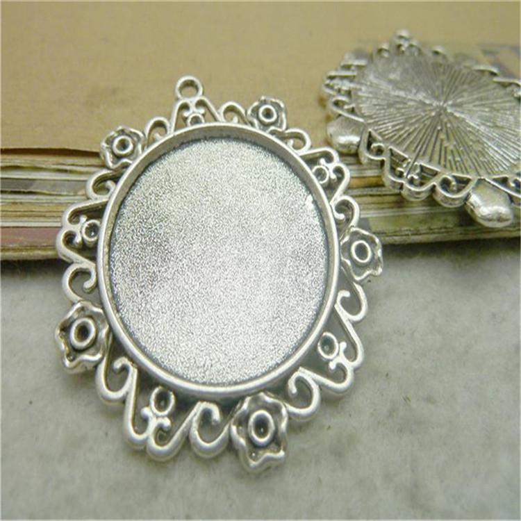 Oval shape Silver Color collet Cameo Cabochon Base Setting Tray Blanks Pendants Charm for necklace jewelry