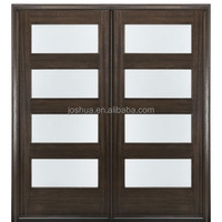 "4-Lite Contemporary 80"" Tall Mahogany Double Entry Door with Insulated Glass"
