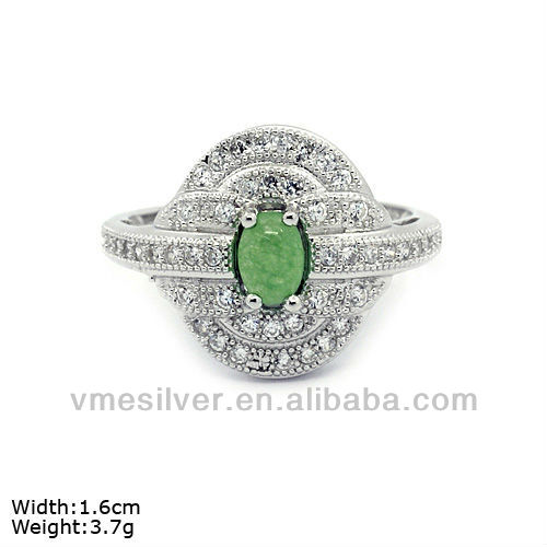 RXN-0033 925 Sterling Silver Ring With Jade & CZ Stones Silver Plated Ring Elegant Ring