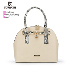 6237-High quality PAPARAZZI vegan snake PU leather material women's fashion fancy satchel bag
