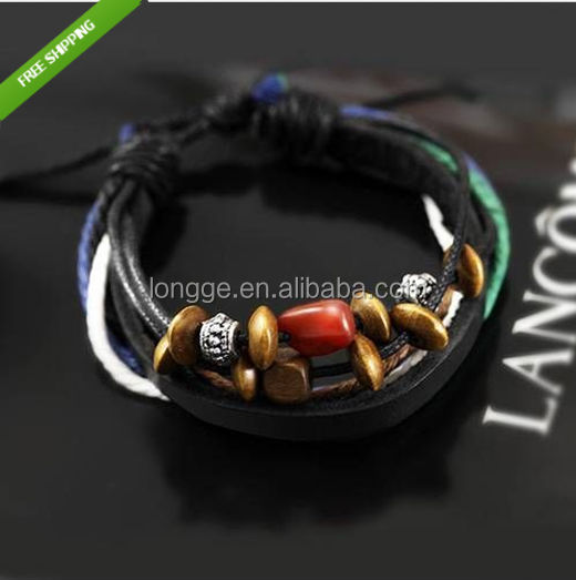 Bamoer Hemp Rope Interweave Woven Leather bracelet Wristband Blue mens Jewelry/leather bracelet/woven wristband
