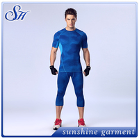 2016 Sport Mens Pro Combat Compression T-shirt Base Layer Jogger Fitness T Shirt GYM Clothing Men Running Tops Plus Size M-XL