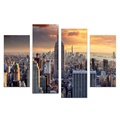 4 Pieces City View Wall Picture on Canvas Modern Cityscape Canvas Painting Wall Picture for Living Room/SJMT1936