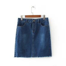 Simple Fashion Girls Denim Skirts with Raw Hem