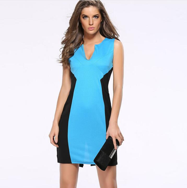 FY 601 New Fashion 2017 Woman Celebrity Bodycon V-neck Stitching Pencil Daily Elegant Lady Office Wear Sexy Dress