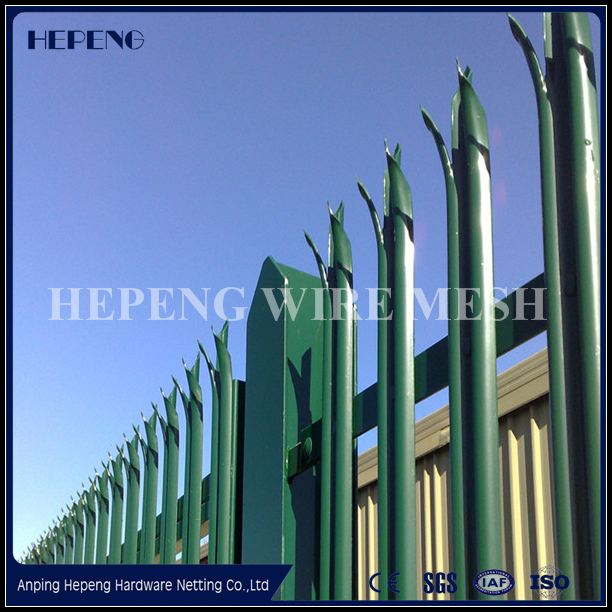Powder coated galvanized steel euro palisade fence / palisade fencing
