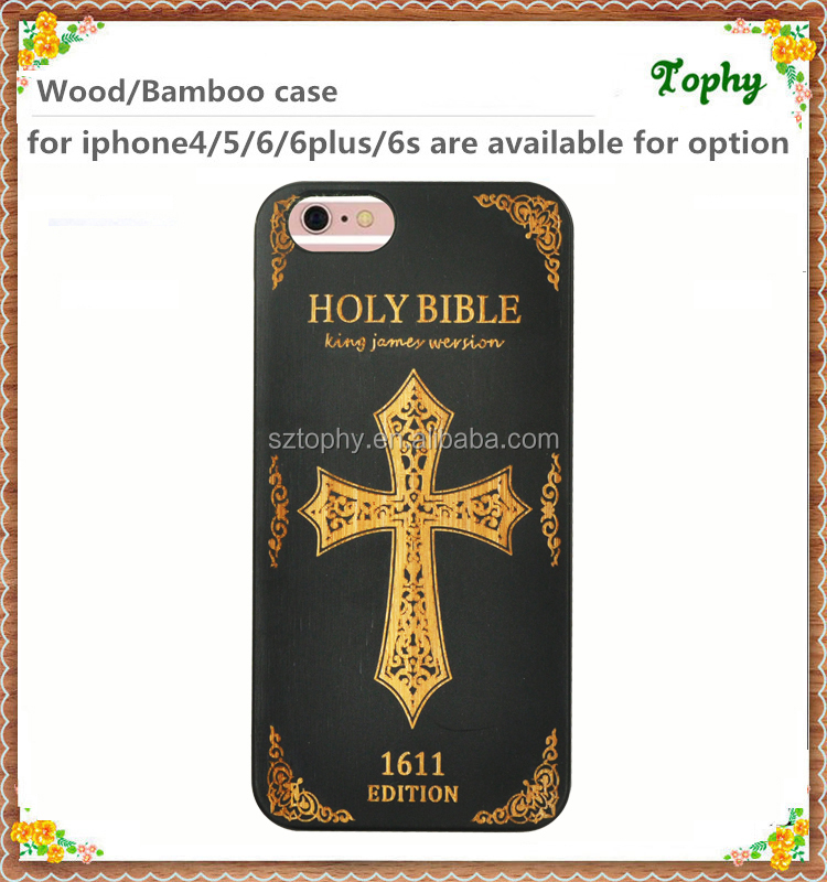 Latest new OEM Custom branded carve crucifix cross design wood hard phone case for iPhone 6s 6 plus