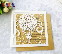HK18 Fire Balloon Design Laser cut wedding invitation/greetign card