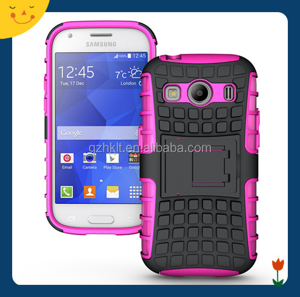 2016 China Wholesale hybrid dual layer tough rugged protective case cover with stand for Samsung Galaxy ace 4 G357