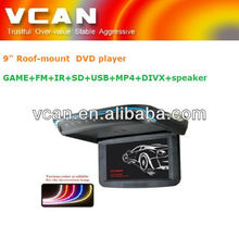"solar roof mounting system/car 9"" flip down / roof mount /over head DVD player with monitor +GAME+FM+IR+SD+USB+MP4+DIVX+speaker"