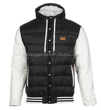 100% polyester mens hooded down jacket with rib on the hem from china