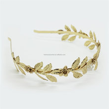 Gold Plated Metal Leaf Circlet Headband