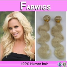 Fabwigs grade 6a body wave virgin malaysian human hair 613 color blonde hair weaving/weave