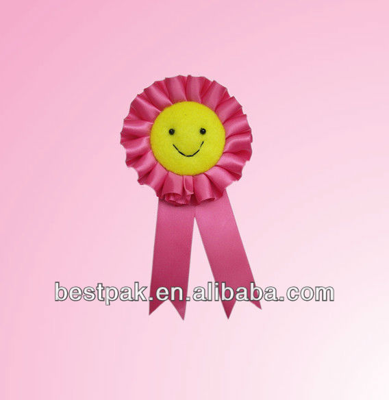2013 lovely smile face polyester ribbon brooch