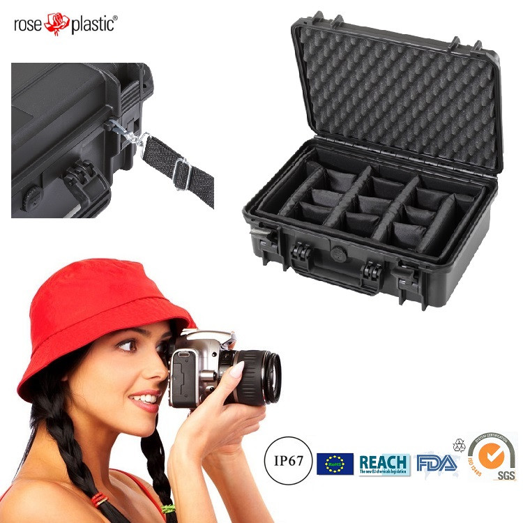 Hard durable solid big handheld plastic packaging cases for LSR cameras with IP67 waterproof RC-PS 290/1