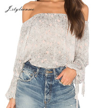 Cheap high quality woman elasticized neckline off shoulder gray floral top