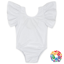 White Flutter Sleeveless Cotton Newbron Snap Crotch Bodysuit