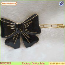 Black Enamel Bow Clip In Hair Extensions For Black Women Alloy hair clip#6305
