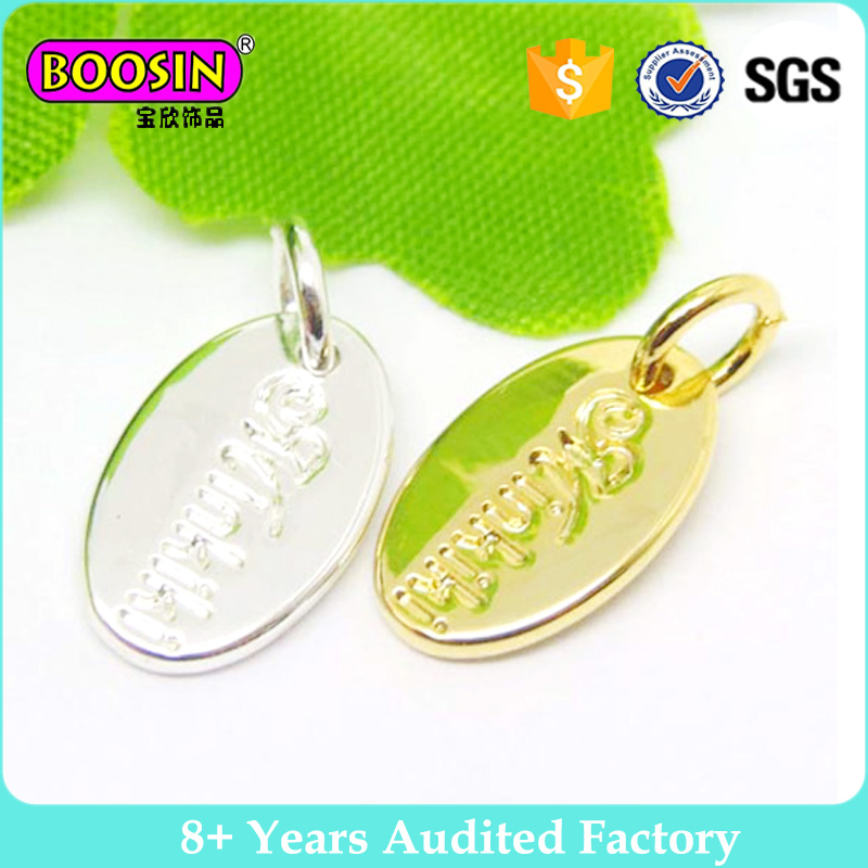 Warmly welcome oval engraving brand name metal custom logo jewelry tags #13775