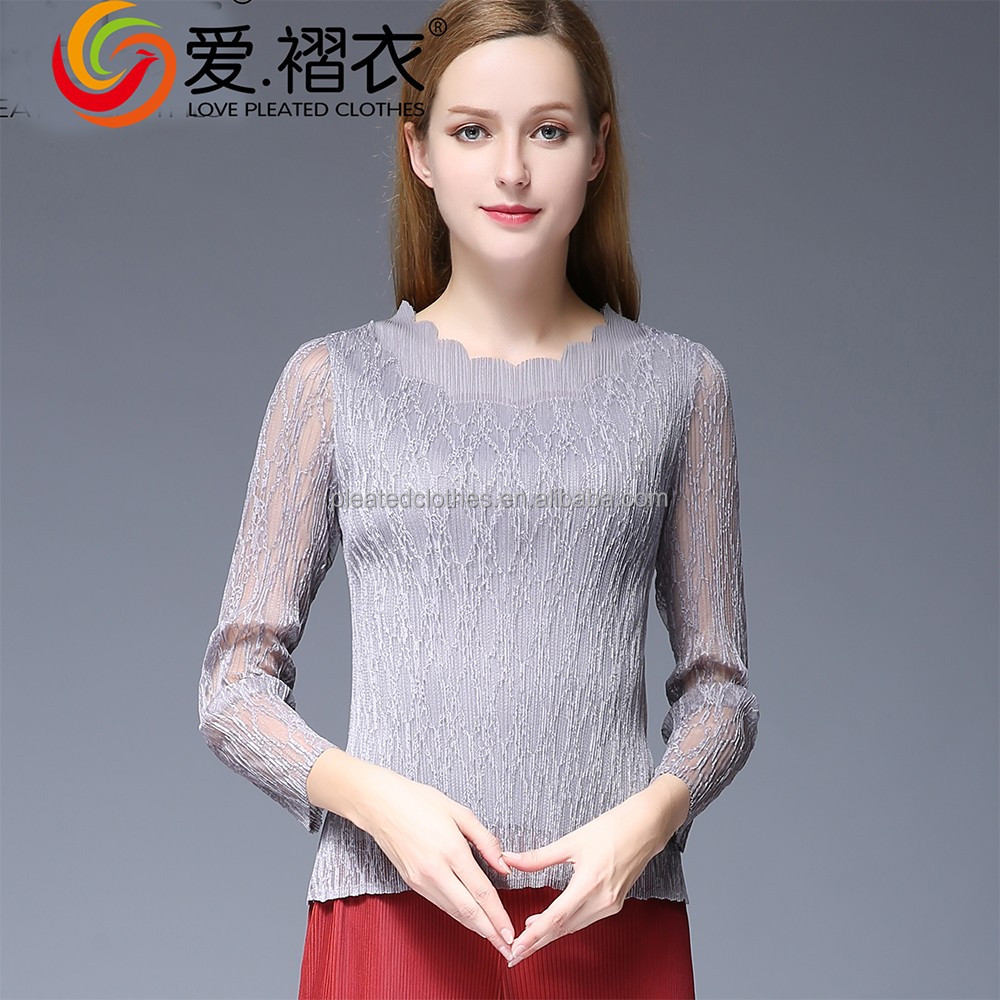 Korean style long sleeve lace tops autumn blouse for women